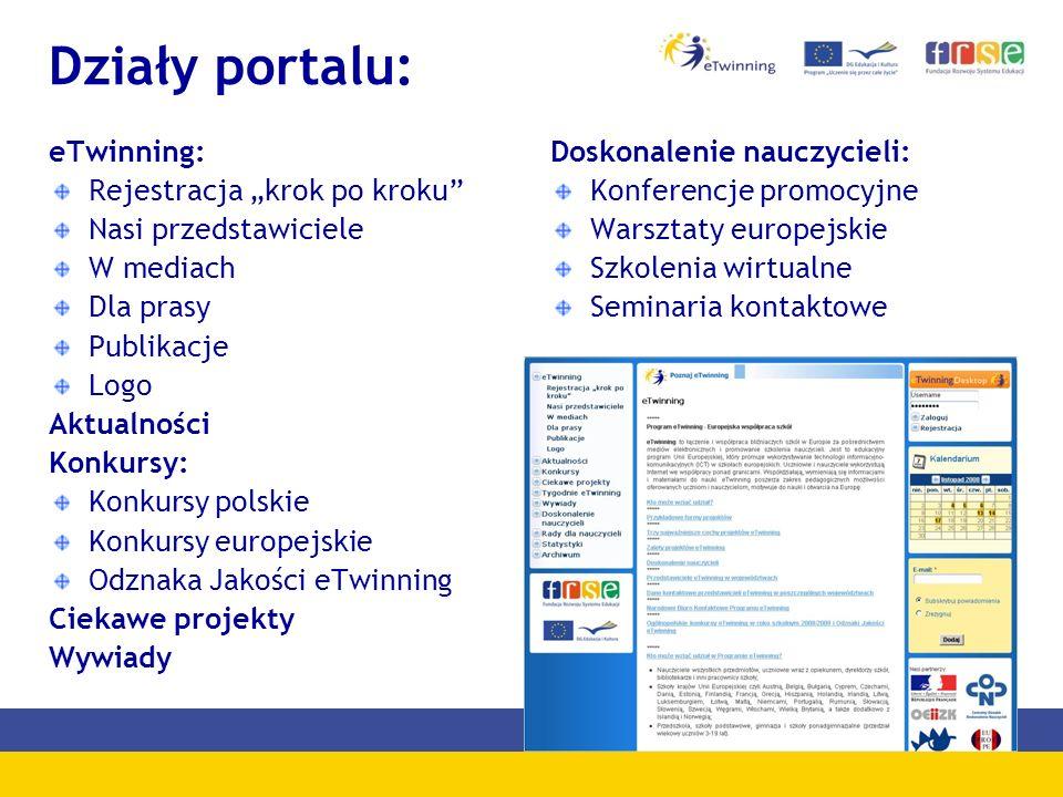 Działy portalu: eTwinning: Rejestracja krok po kroku Nasi przedstawiciele W mediach Dla prasy Publikacje Logo Aktualności Konkursy: Konkursy polskie K