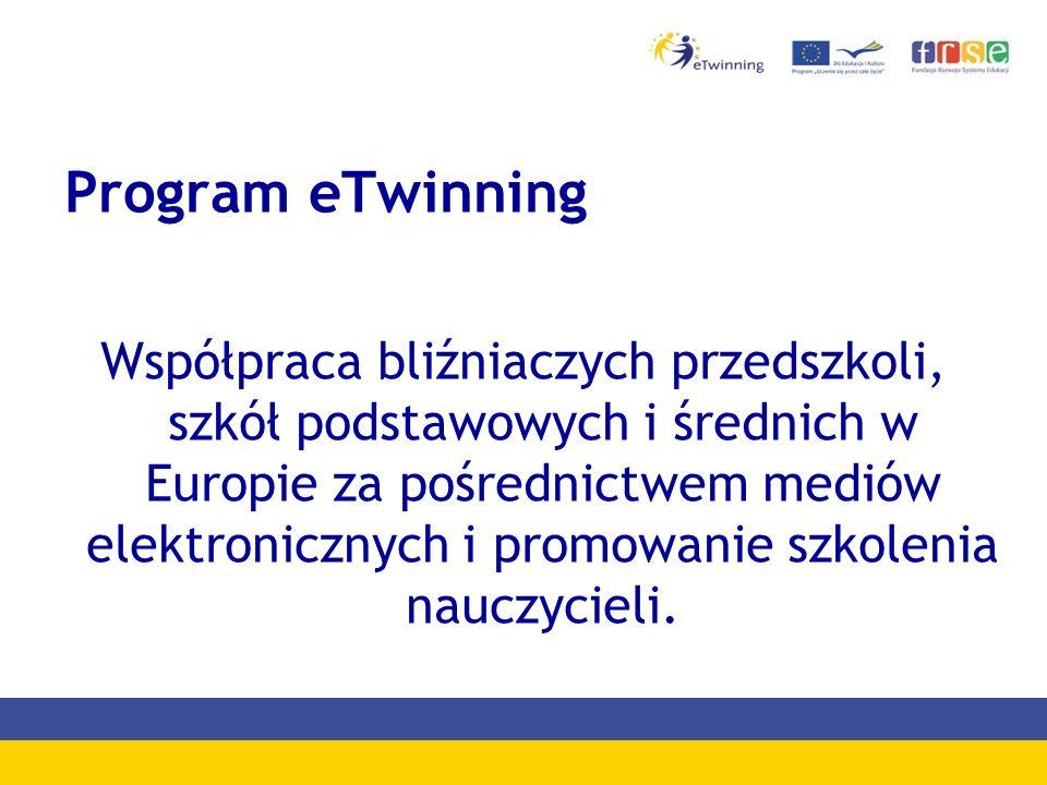 Program eTwinning Współpraca bliźniaczych przedszkoli, szkół podstawowych i średnich w Europie za pośrednictwem mediów elektronicznych i promowanie szkolenia nauczycieli.