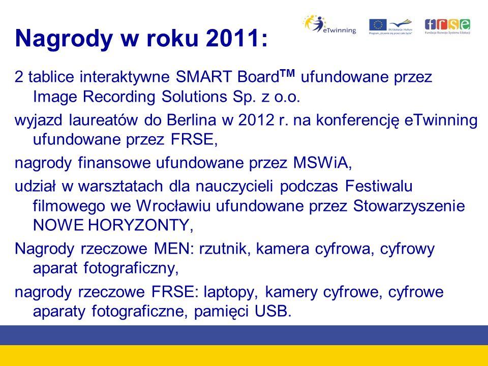 Nagrody w roku 2011: 2 tablice interaktywne SMART Board TM ufundowane przez Image Recording Solutions Sp. z o.o. wyjazd laureatów do Berlina w 2012 r.