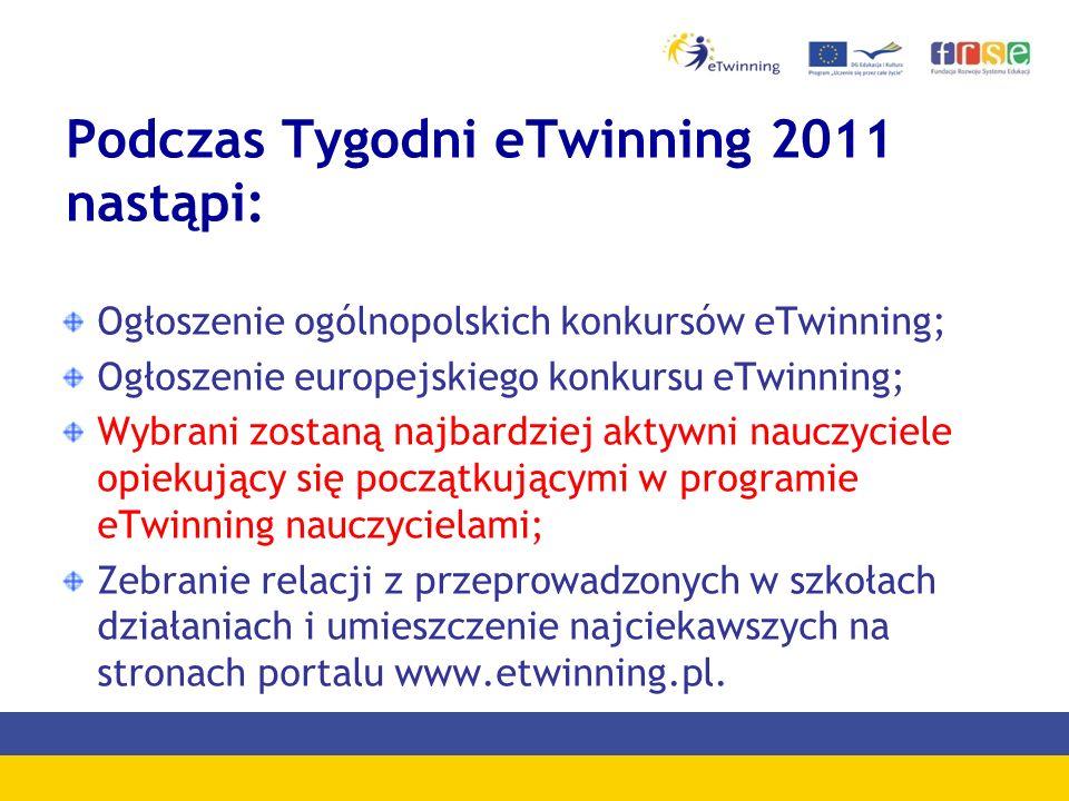 Podczas Tygodni eTwinning 2011 nastąpi: Ogłoszenie ogólnopolskich konkursów eTwinning; Ogłoszenie europejskiego konkursu eTwinning; Wybrani zostaną na