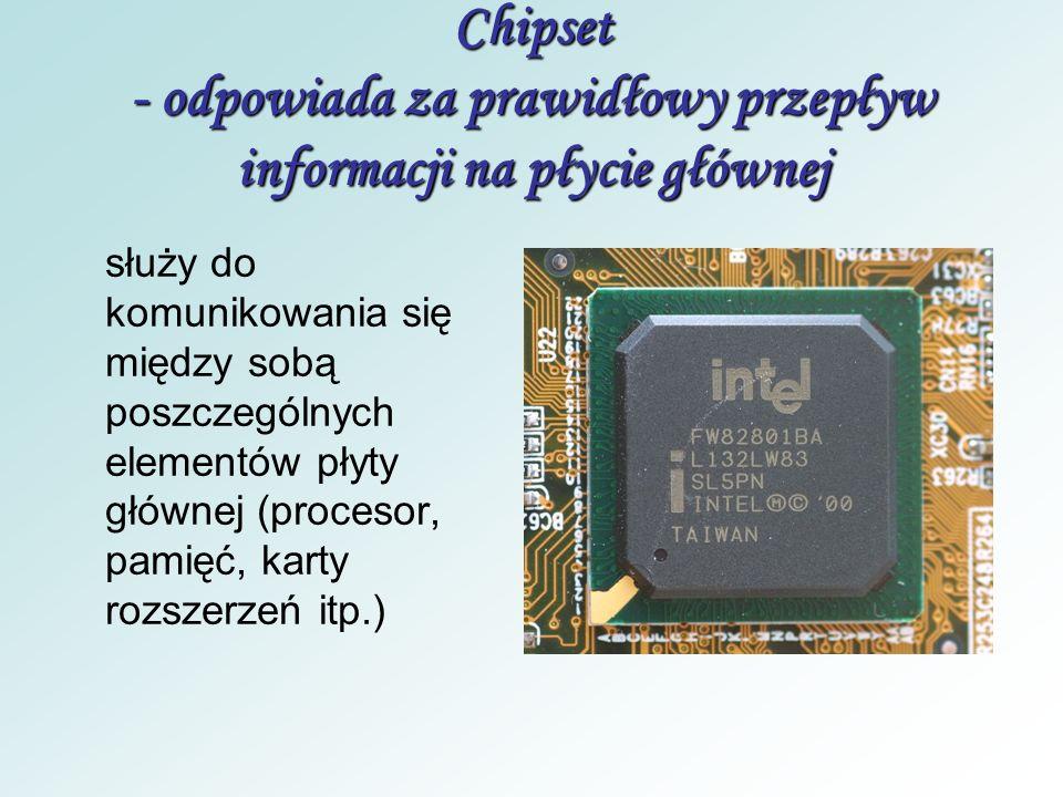 Płyta główna - łączy wszystkie elementy komputera To podstawowy podzespół jednostki centralnej. Na niej są umieszczone różne układy elektroniczne, m.i