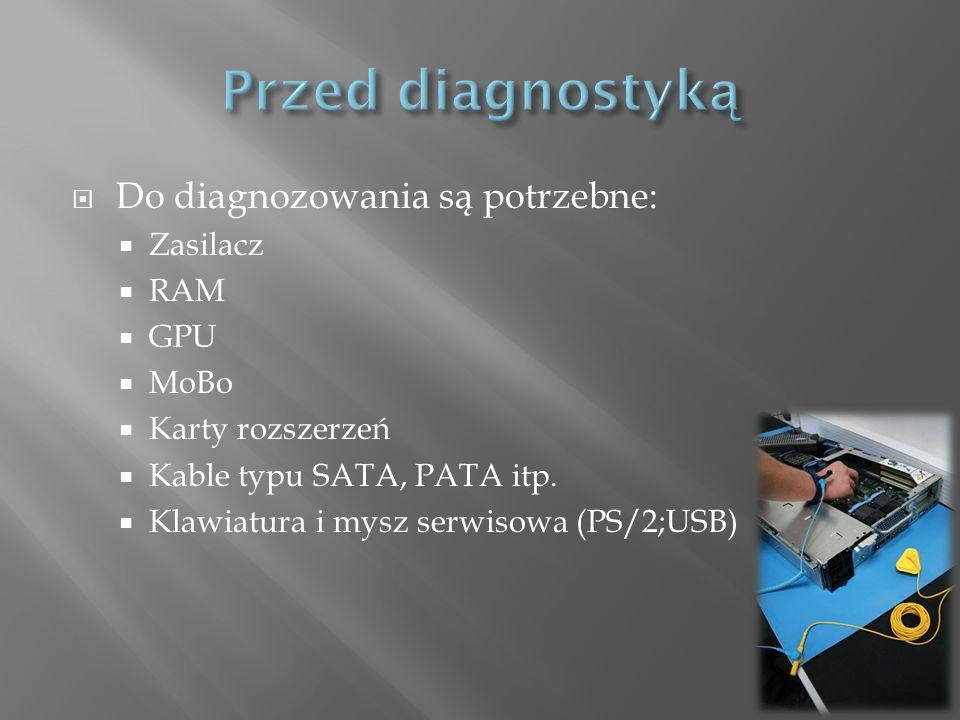 Do diagnozowania są potrzebne: Zasilacz RAM GPU MoBo Karty rozszerzeń Kable typu SATA, PATA itp. Klawiatura i mysz serwisowa (PS/2;USB)