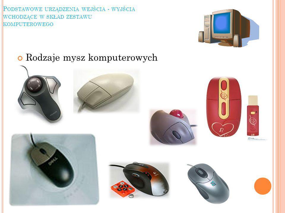 P ODSTAWOWE URZĄDZENIA WEJŚCIA - WYJŚCIA WCHODZĄCE W SKŁAD ZESTAWU KOMPUTEROWEGO Rodzaje mysz komputerowych
