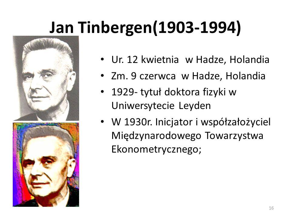 Jan Tinbergen(1903-1994) Ur. 12 kwietnia w Hadze, Holandia Zm. 9 czerwca w Hadze, Holandia 1929- tytuł doktora fizyki w Uniwersytecie Leyden W 1930r.