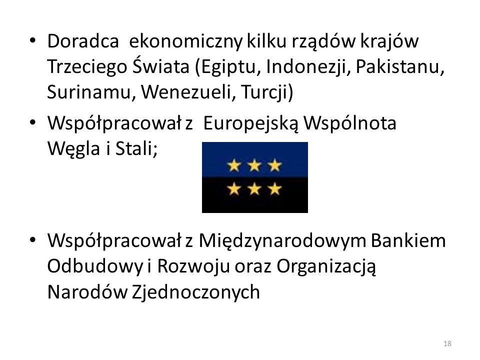 Doradca ekonomiczny kilku rządów krajów Trzeciego Świata (Egiptu, Indonezji, Pakistanu, Surinamu, Wenezueli, Turcji) Współpracował z Europejską Wspóln