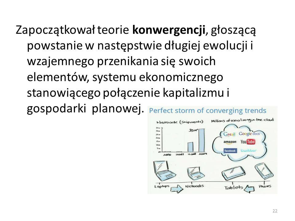 Zapoczątkował teorie konwergencji, głoszącą powstanie w następstwie długiej ewolucji i wzajemnego przenikania się swoich elementów, systemu ekonomiczn