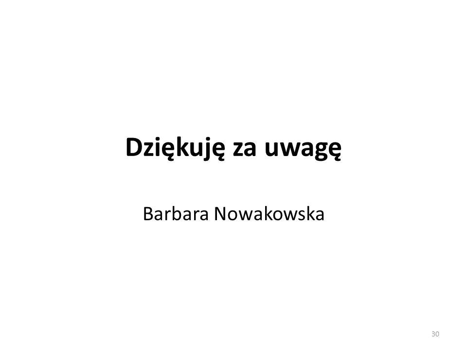 Dziękuję za uwagę Barbara Nowakowska 30