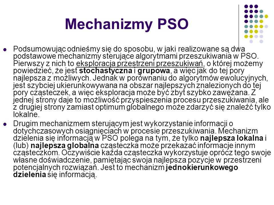 Mechanizmy PSO Podsumowując odnieśmy się do sposobu, w jaki realizowane są dwa podstawowe mechanizmy sterujące algorytmami przeszukiwania w PSO. Pierw
