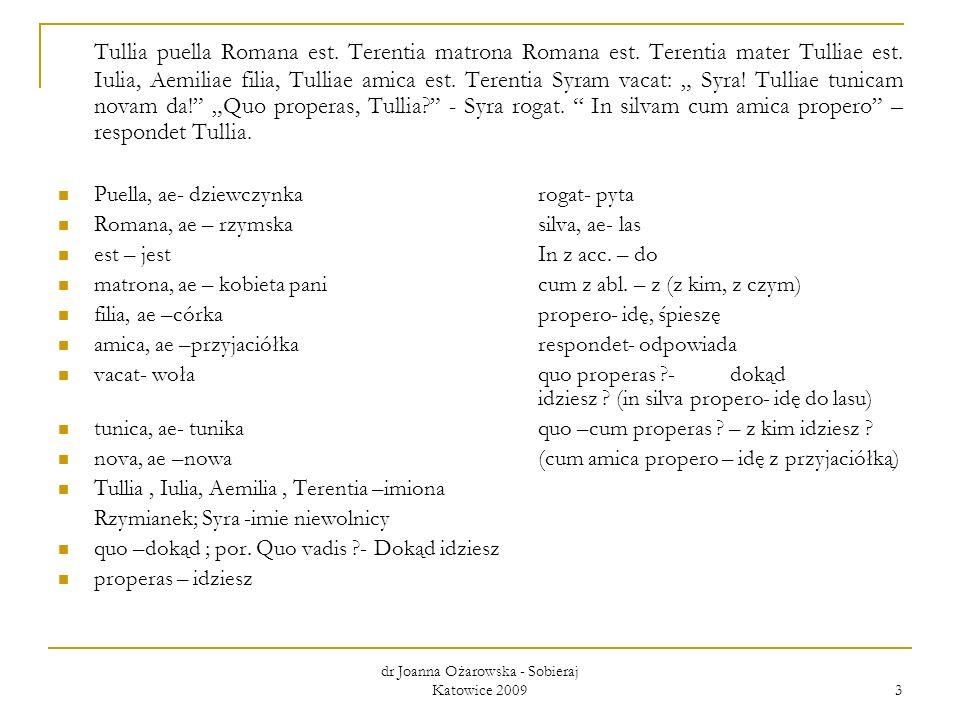 dr Joanna Ożarowska - Sobieraj Katowice 2009 3 Tullia puella Romana est. Terentia matrona Romana est. Terentia mater Tulliae est. Iulia, Aemiliae fili