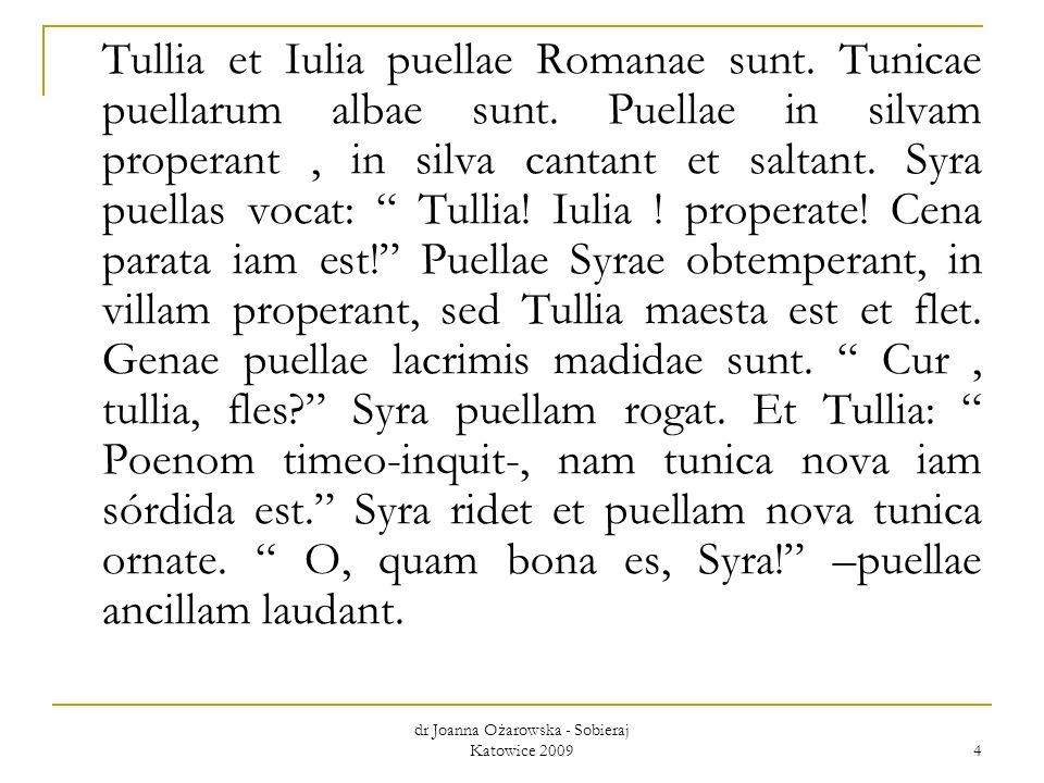 dr Joanna Ożarowska - Sobieraj Katowice 2009 4 Tullia et Iulia puellae Romanae sunt. Tunicae puellarum albae sunt. Puellae in silvam properant, in sil