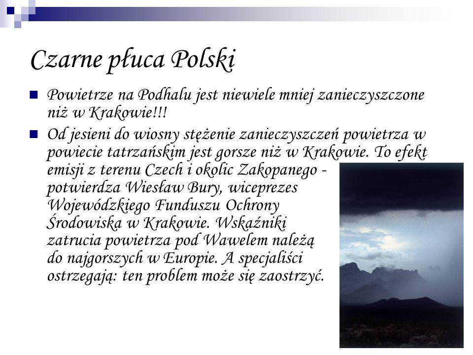 Czarne płuca Polski Powietrze na Podhalu jest niewiele mniej zanieczyszczone niż w Krakowie!!! Od jesieni do wiosny stężenie zanieczyszczeń powietrza