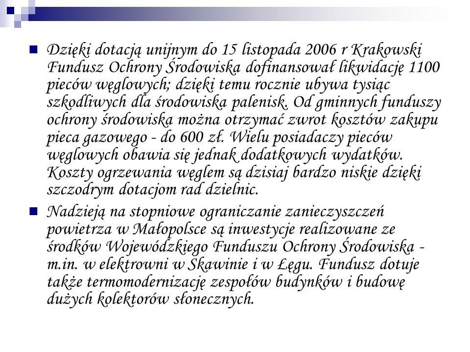 Dzięki dotacją unijnym do 15 listopada 2006 r Krakowski Fundusz Ochrony Środowiska dofinansował likwidację 1100 pieców węglowych; dzięki temu rocznie