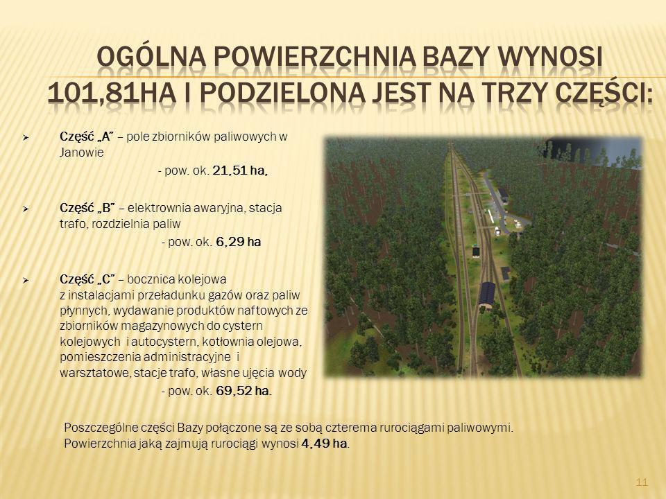 Część A – pole zbiorników paliwowych w Janowie - pow. ok. 21,51 ha, Część B – elektrownia awaryjna, stacja trafo, rozdzielnia paliw - pow. ok. 6,29 ha