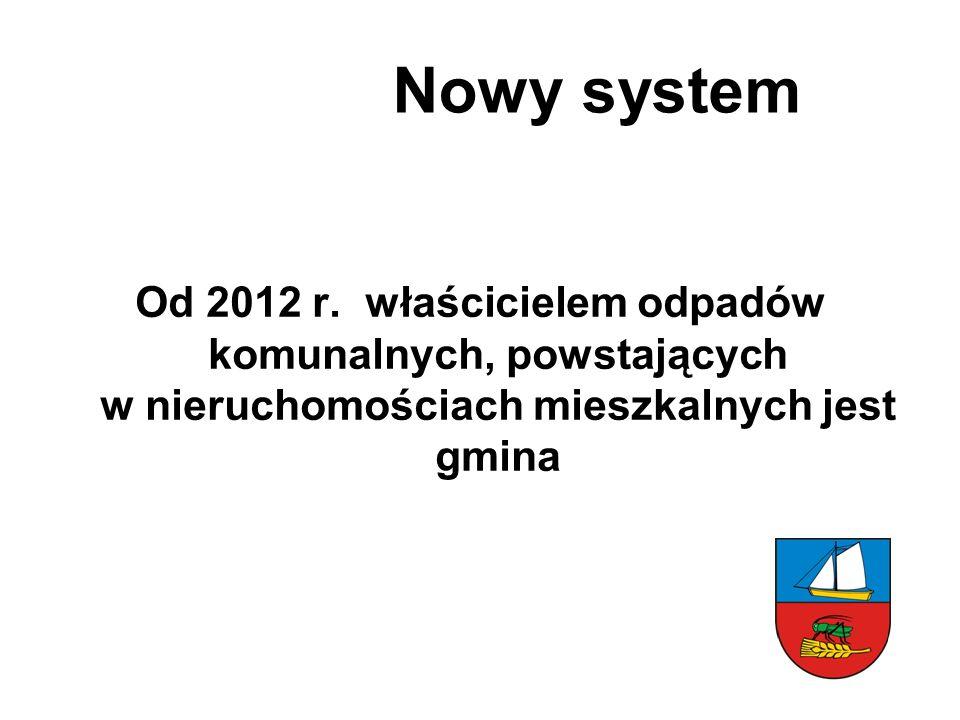 Od 2012 r. właścicielem odpadów komunalnych, powstających w nieruchomościach mieszkalnych jest gmina Nowy system