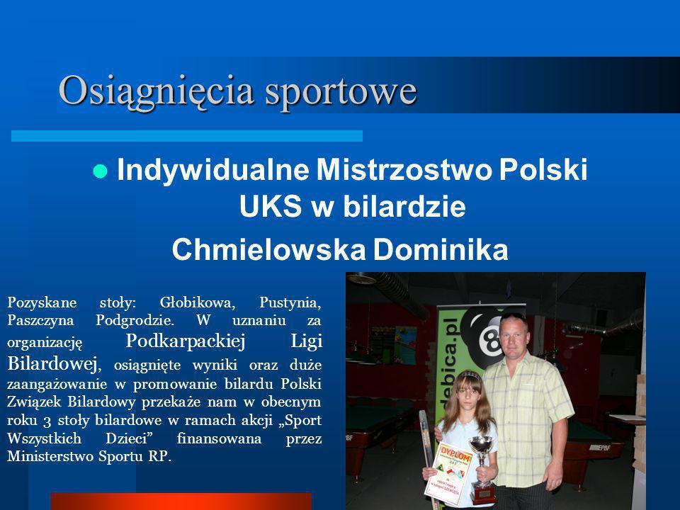 Osiągnięcia sportowe Indywidualne Mistrzostwo Polski UKS w bilardzie Chmielowska Dominika Pozyskane stoły: Głobikowa, Pustynia, Paszczyna Podgrodzie.