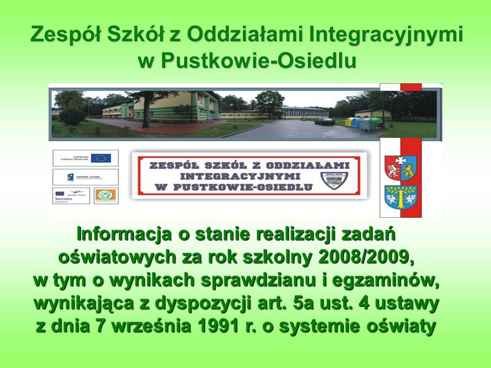 Informacja o stanie realizacji zadań oświatowych za rok szkolny 2008/2009, w tym o wynikach sprawdzianu i egzaminów, wynikająca z dyspozycji art.