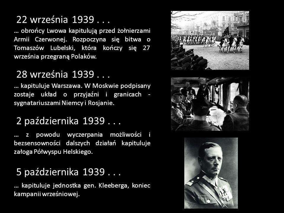 22 września 1939... … obrońcy Lwowa kapitulują przed żołnierzami Armii Czerwonej. Rozpoczyna się bitwa o Tomaszów Lubelski, która kończy się 27 wrześn