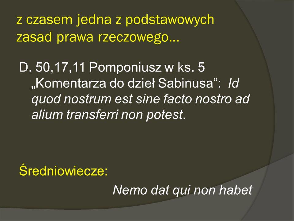 z czasem jedna z podstawowych zasad prawa rzeczowego… D. 50,17,11 Pomponiusz w ks. 5 Komentarza do dzieł Sabinusa: Id quod nostrum est sine facto nost