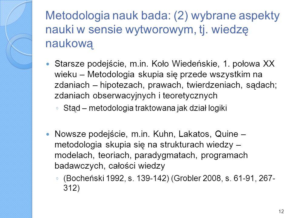 Metodologia nauk bada: (2) wybrane aspekty nauki w sensie wytworowym, tj. wiedzę naukową Starsze podejście, m.in. Koło Wiedeńskie, 1. połowa XX wieku