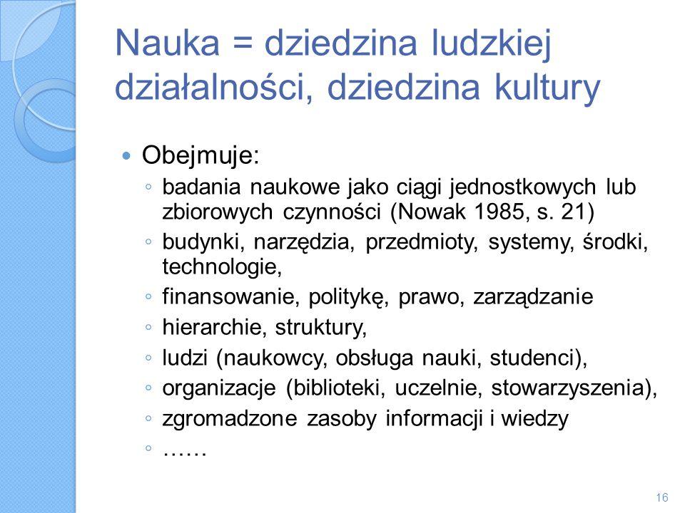 Nauka = dziedzina ludzkiej działalności, dziedzina kultury Obejmuje: badania naukowe jako ciągi jednostkowych lub zbiorowych czynności (Nowak 1985, s.
