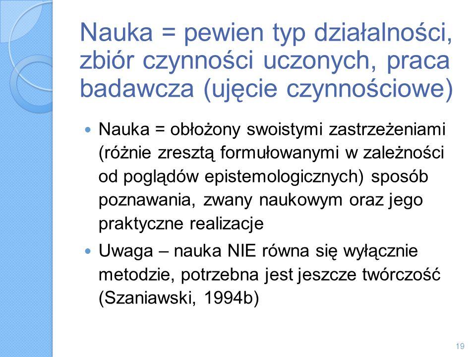 Nauka = pewien typ działalności, zbiór czynności uczonych, praca badawcza (ujęcie czynnościowe) Nauka = obłożony swoistymi zastrzeżeniami (różnie zres