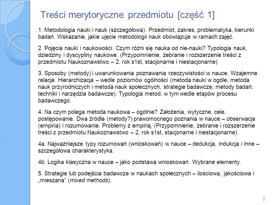 Treści merytoryczne przedmiotu [część 1] 1. Metodologia nauki i nauk (szczegółowa). Przedmiot, zakres, problematyka, kierunki badań. Wskazanie, jakie
