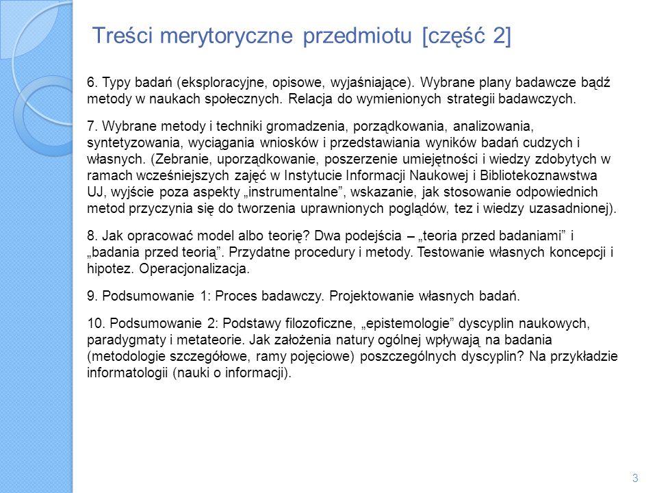 Treści merytoryczne przedmiotu [część 2] 6. Typy badań (eksploracyjne, opisowe, wyjaśniające). Wybrane plany badawcze bądź metody w naukach społecznyc