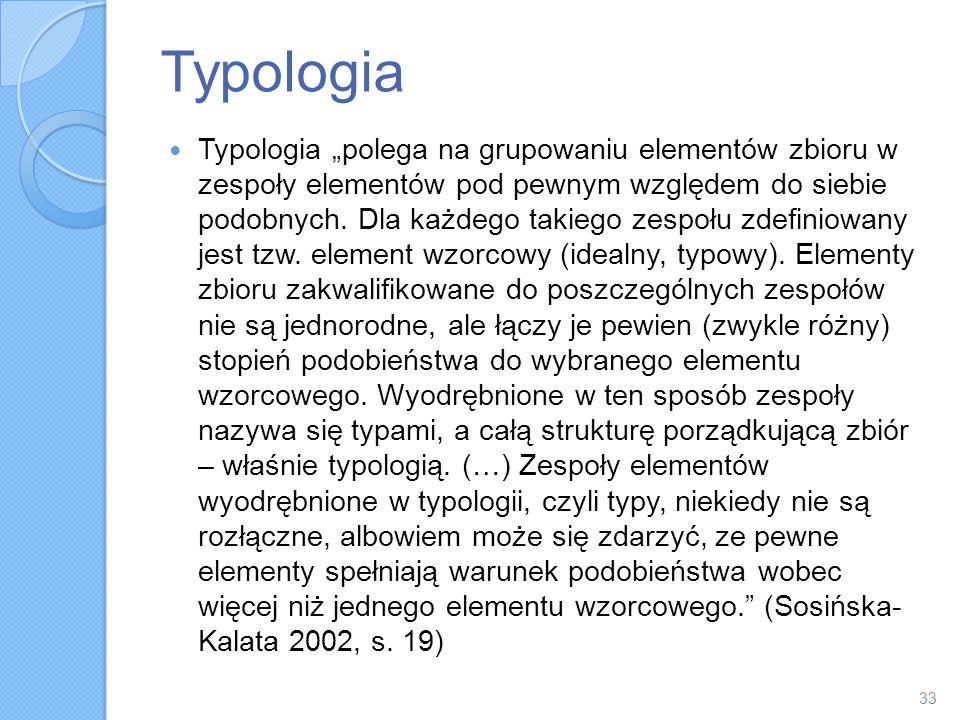 Typologia Typologia polega na grupowaniu elementów zbioru w zespoły elementów pod pewnym względem do siebie podobnych. Dla każdego takiego zespołu zde