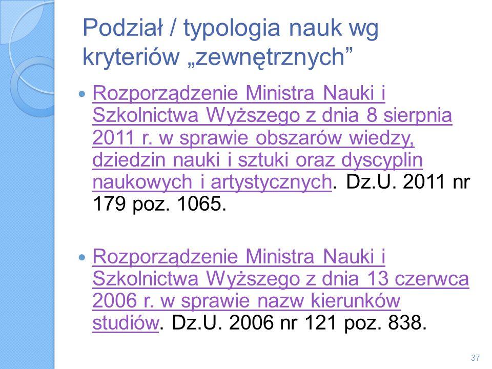Podział / typologia nauk wg kryteriów zewnętrznych Rozporządzenie Ministra Nauki i Szkolnictwa Wyższego z dnia 8 sierpnia 2011 r. w sprawie obszarów w