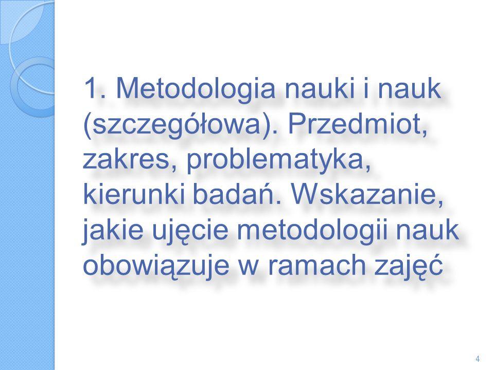 1. Metodologia nauki i nauk (szczegółowa). Przedmiot, zakres, problematyka, kierunki badań. Wskazanie, jakie ujęcie metodologii nauk obowiązuje w rama