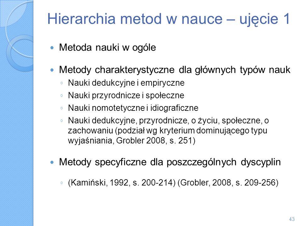 Hierarchia metod w nauce – ujęcie 1 Metoda nauki w ogóle Metody charakterystyczne dla głównych typów nauk Nauki dedukcyjne i empiryczne Nauki przyrodn