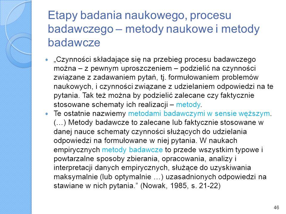 Etapy badania naukowego, procesu badawczego – metody naukowe i metody badawcze Czynności składające się na przebieg procesu badawczego można – z pewny