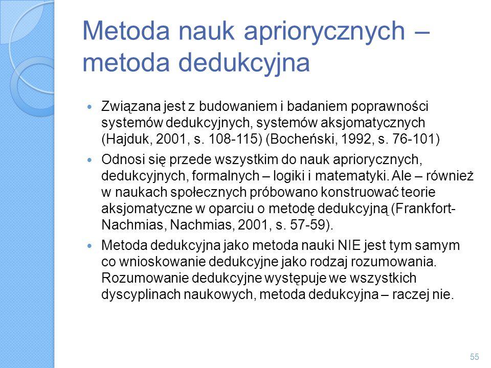 Metoda nauk apriorycznych – metoda dedukcyjna Związana jest z budowaniem i badaniem poprawności systemów dedukcyjnych, systemów aksjomatycznych (Hajdu