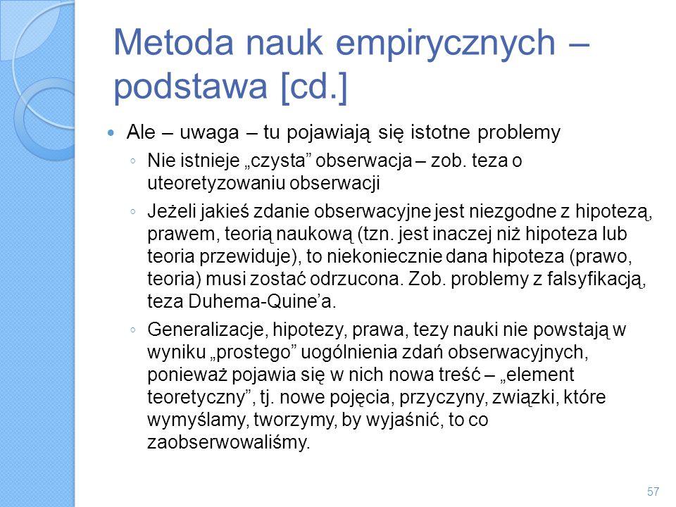 Metoda nauk empirycznych – podstawa [cd.] Ale – uwaga – tu pojawiają się istotne problemy Nie istnieje czysta obserwacja – zob. teza o uteoretyzowaniu