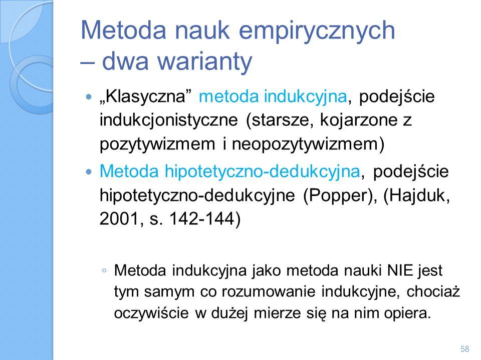 Metoda nauk empirycznych – dwa warianty Klasyczna metoda indukcyjna, podejście indukcjonistyczne (starsze, kojarzone z pozytywizmem i neopozytywizmem)