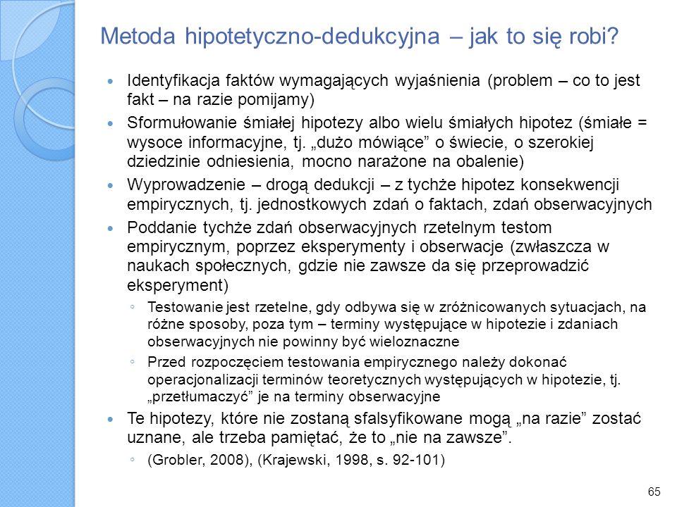 65 Metoda hipotetyczno-dedukcyjna – jak to się robi? Identyfikacja faktów wymagających wyjaśnienia (problem – co to jest fakt – na razie pomijamy) Sfo