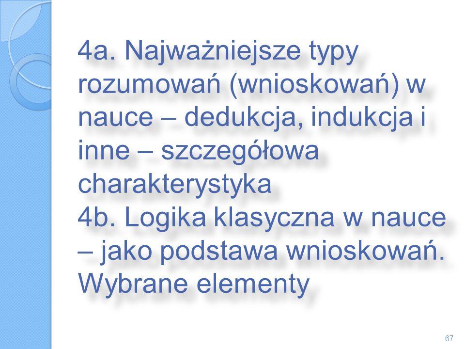 4a. Najważniejsze typy rozumowań (wnioskowań) w nauce – dedukcja, indukcja i inne – szczegółowa charakterystyka 4b. Logika klasyczna w nauce – jako po