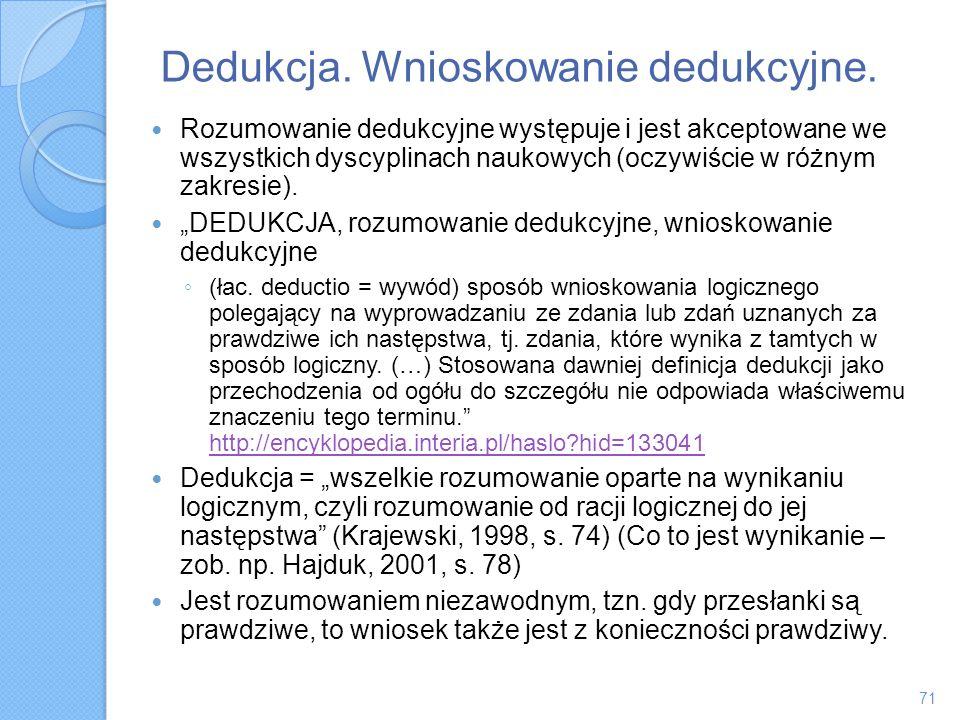 Dedukcja. Wnioskowanie dedukcyjne. Rozumowanie dedukcyjne występuje i jest akceptowane we wszystkich dyscyplinach naukowych (oczywiście w różnym zakre