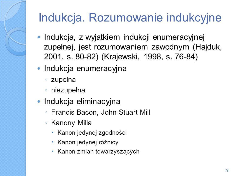 Indukcja. Rozumowanie indukcyjne Indukcja, z wyjątkiem indukcji enumeracyjnej zupełnej, jest rozumowaniem zawodnym (Hajduk, 2001, s. 80-82) (Krajewski