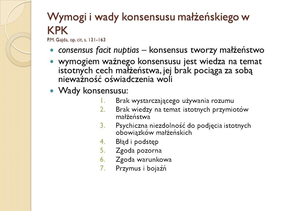 Wymogi i wady konsensusu małżeńskiego w KPK P.M.Gajda, op.