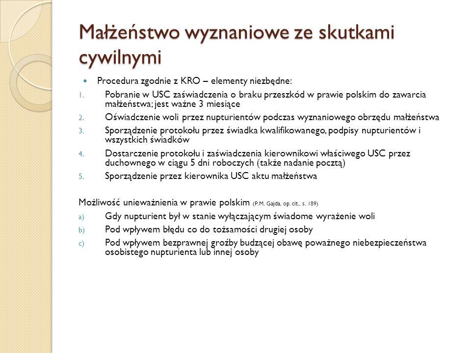 Małżeństwo wyznaniowe ze skutkami cywilnymi Procedura zgodnie z KRO – elementy niezbędne: 1.