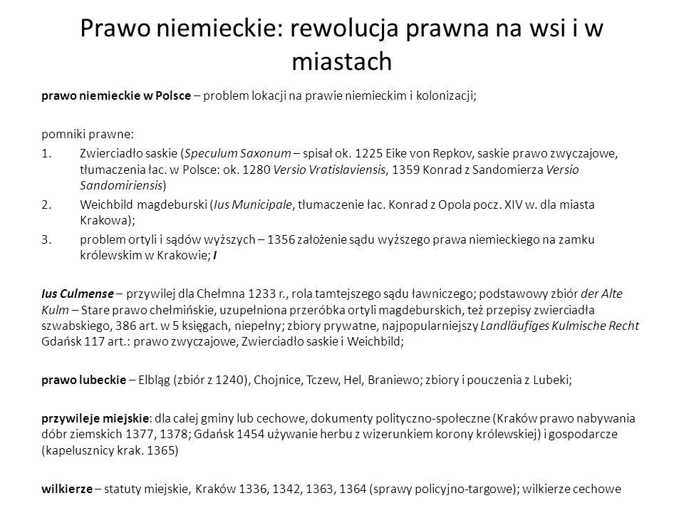 Prawo niemieckie: rewolucja prawna na wsi i w miastach prawo niemieckie w Polsce – problem lokacji na prawie niemieckim i kolonizacji; pomniki prawne: