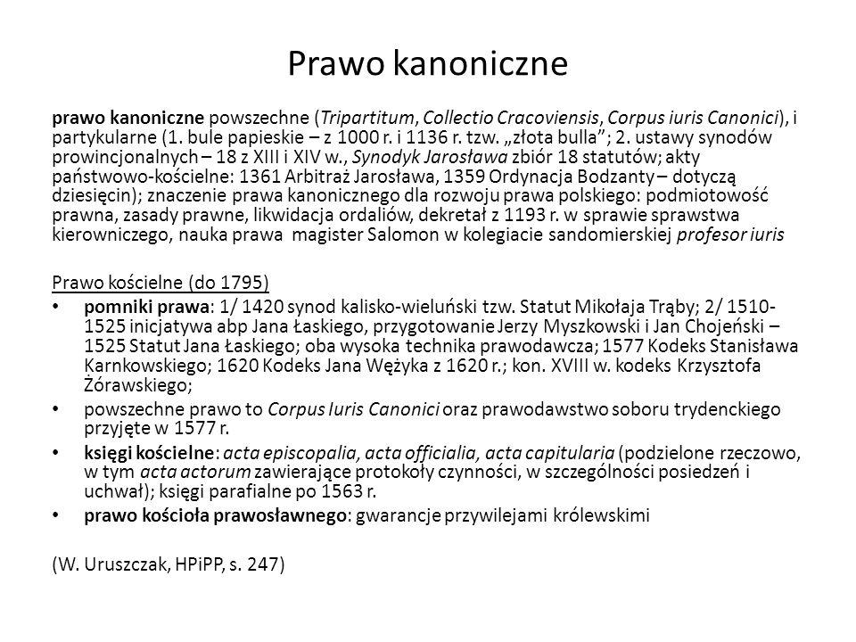 Prawo kanoniczne prawo kanoniczne powszechne (Tripartitum, Collectio Cracoviensis, Corpus iuris Canonici), i partykularne (1. bule papieskie – z 1000