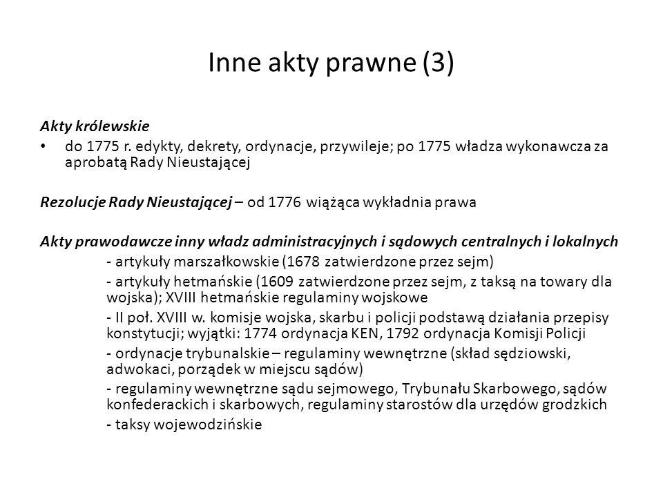 Kodyfikacje partykularne (1) Statuty mazowieckie – 1529 gwarantowane odrębności prawa sądowego w przywileju inkorporacyjnym; statuty średniowieczne 1377 Ziemowit III, Janusz I 1387-1426 trzynaście; 1529 na sejmie polecenie akcji kodyfikacyjnej – Wawrzyniec Prażmowski, Statut Mazowiecki I = Zwód Prażmowskiego (1532; luki i sprzeczności); 1540 nowy statut Zwód Goryńskiego wiceregens woj.
