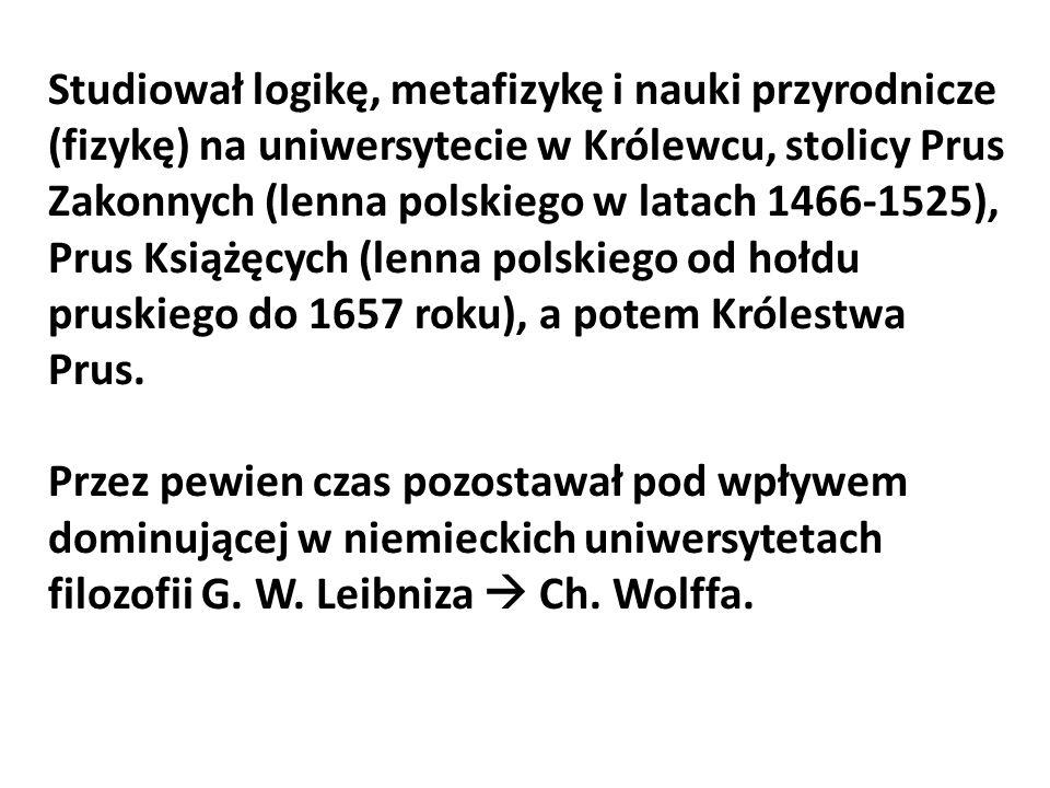 Studiował logikę, metafizykę i nauki przyrodnicze (fizykę) na uniwersytecie w Królewcu, stolicy Prus Zakonnych (lenna polskiego w latach 1466-1525), P