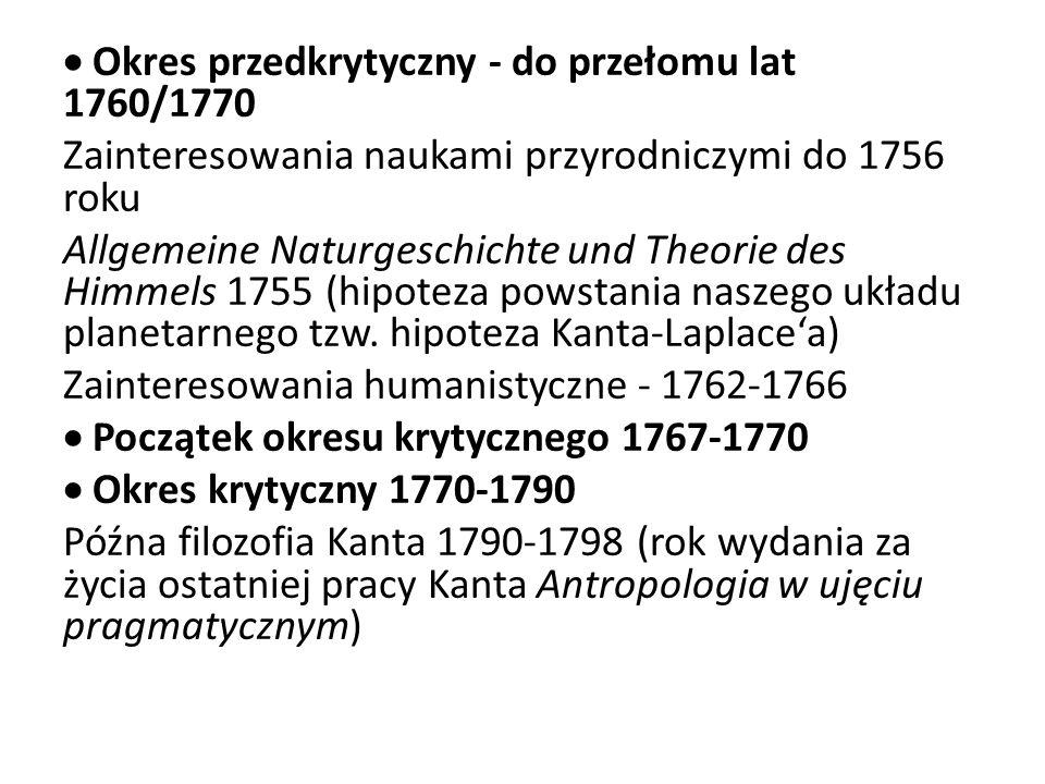 Okres przedkrytyczny - do przełomu lat 1760/1770 Zainteresowania naukami przyrodniczymi do 1756 roku Allgemeine Naturgeschichte und Theorie des Himmel