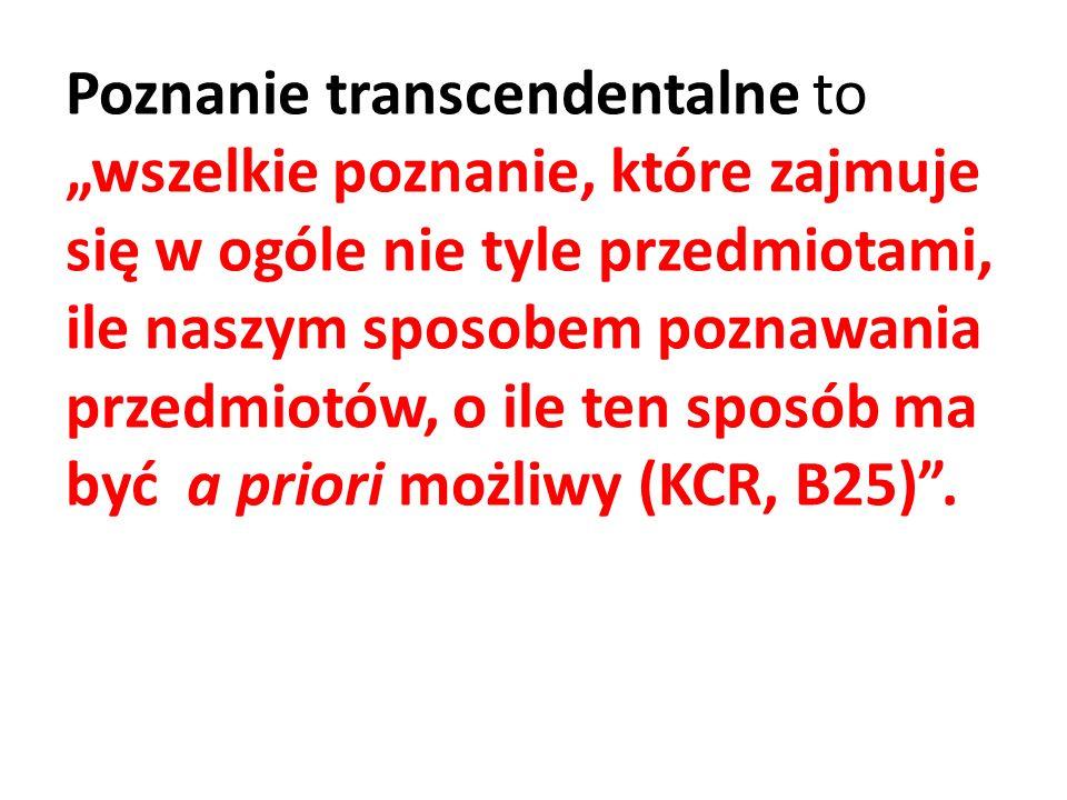 Kant określa to poznanie mianem transcendentalnego, gdyż podobnie jak transcendentalia w scholastyce, przekracza ono dotychczasowe granice poznania.