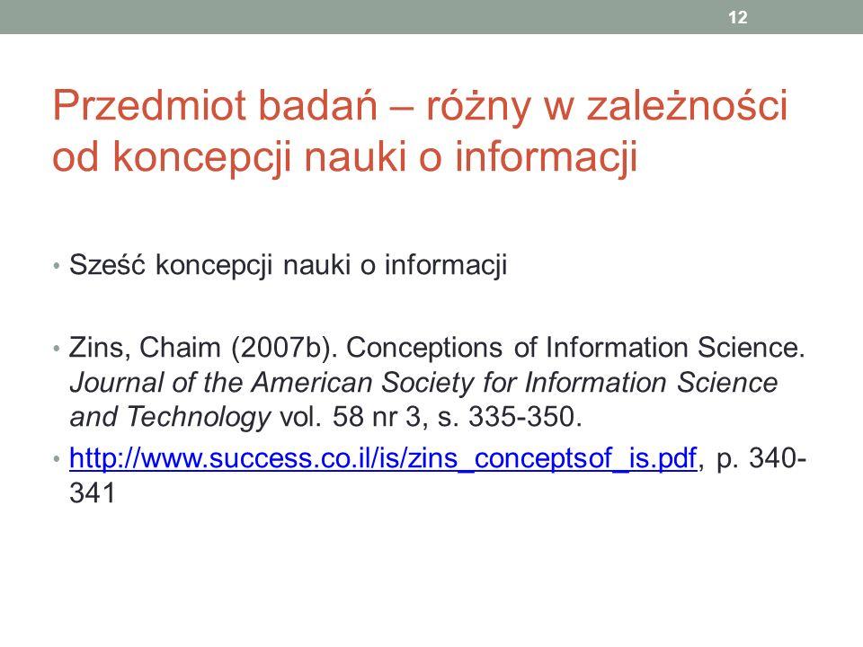 Przedmiot badań – różny w zależności od koncepcji nauki o informacji Sześć koncepcji nauki o informacji Zins, Chaim (2007b). Conceptions of Informatio