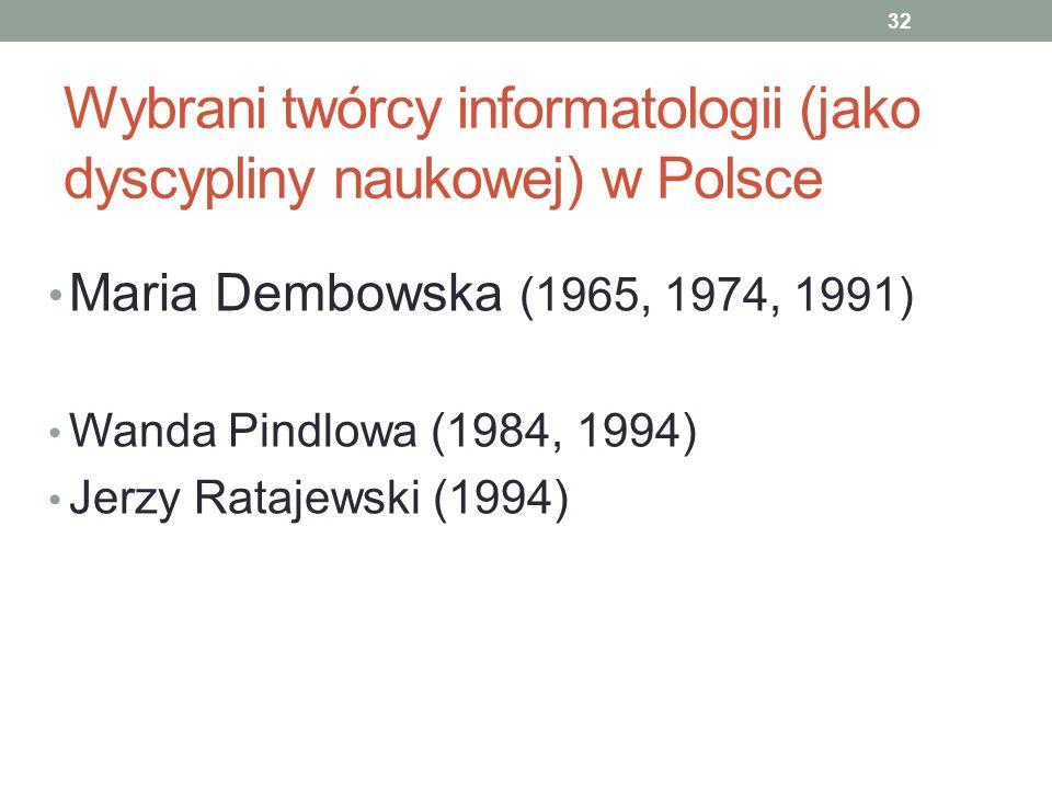 Wybrani twórcy informatologii (jako dyscypliny naukowej) w Polsce Maria Dembowska (1965, 1974, 1991) Wanda Pindlowa (1984, 1994) Jerzy Ratajewski (199