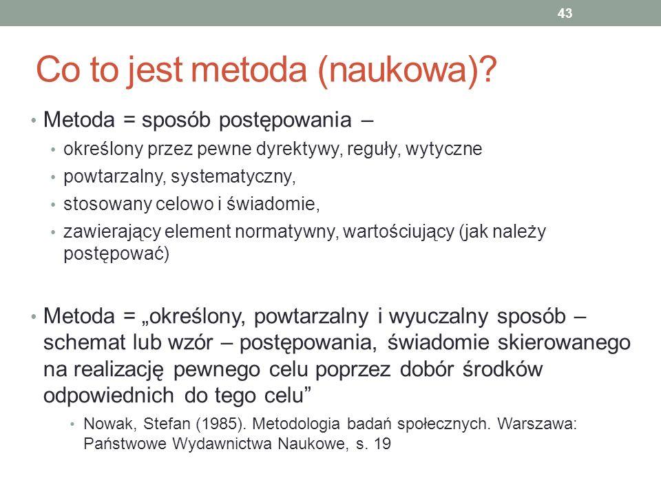 Co to jest metoda (naukowa)? Metoda = sposób postępowania – określony przez pewne dyrektywy, reguły, wytyczne powtarzalny, systematyczny, stosowany ce